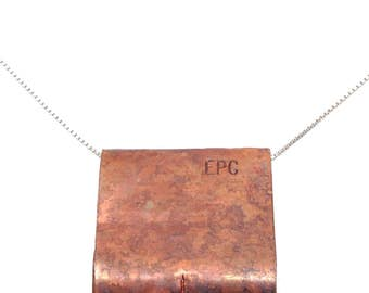 Hammered Copper Pendant - Free Shipping