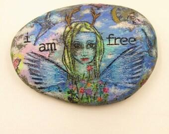 Painted rock inspirational mixed media stone I am free home decor garden decor