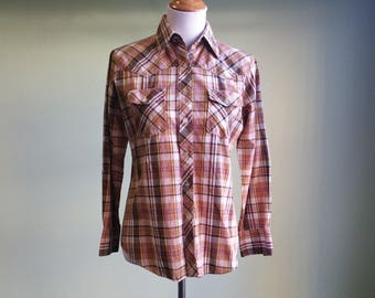 Vintage Plaid Western Shirt - Slim Fit 80's 90s Long Sleeve Top - Small / Medium