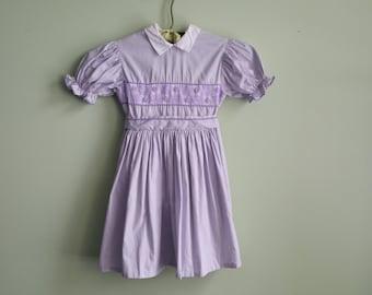 1950's Lavendar Cotton Dress - Toddler Girl 4T 5T 50s Dress - Vintage Kids Clothing