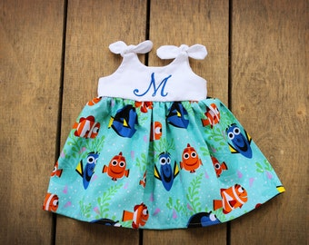Dory Nemo dress, Girls Dress, Disney inspired outfit, baby dress, dory birthday dress, baby shower gift, monogrammed outfit
