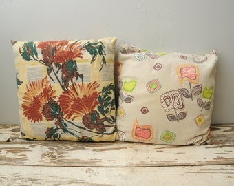 Mismatched Barkcloth Covered Pillows