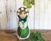 Matryoshka - Babushka Medium  Felt Art Doll hand stitched with St Patrick's Day theme and four leaf clover
