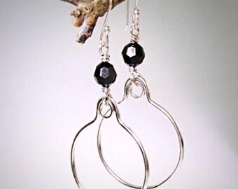 Large Silver Hoops, Sterling Silver Swarovski Crystal Hoops, Black Hoop Earrings