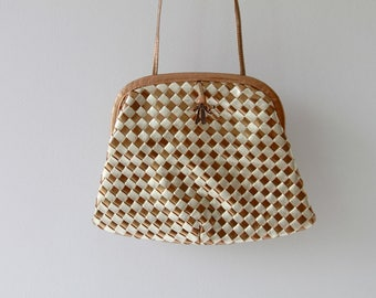 1970s Woven Check Clamshell Leather Bag / Vintage 70s Silver and Bronze Purse / Italian Color Block Clutch