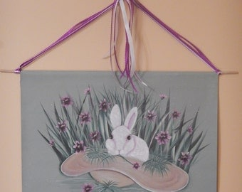 Handpainted Bunny Banner, Easter Bunny, Bunny Rabbit Painting