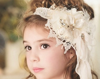 New! Bridal Flower girl Headband Vintage Ivory and Cream Flower Headband, Feathers, Handrolled silk rosettes, pearls, Crystals veiling