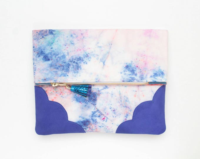 Leather folded clutch purse-leather bag-dyed cotton purse-everyday purse-blue pink splashes-handcolored bag- Ready to Ship/DELIGHT 34