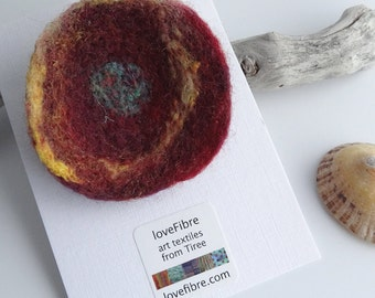 Red and yellow handmade felt brooch, made in Scotland