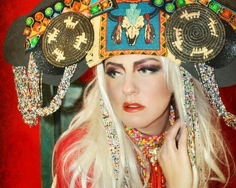Structural Southwest Santa Fe,New Mexico crown headpiece,beaded, woven,runway,fashion accessory,headdress, burning man,