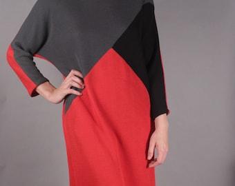80s Red/Gray/Black Geometric Sweater Dress