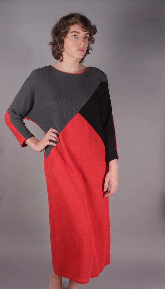 80s Red/Gray/Black Geometric Sweater Dress