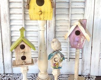 4 Pc Bird Houses Village - Bird Houses on Pedestals - Antique Finish Bird Decor - Table Top - Gift for Mom