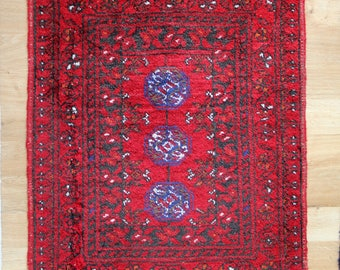 Small Vintage Rug - Hand Knotted Small Vintage Red and Blue Wool Rug or Mat - Boho Chic