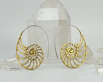 Nautilus Earrings - Brass with sterling ear-stems