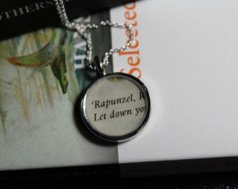 Rapunzel Book Page Pendant Necklace - Brother's Grimm Fairy Tale Necklace