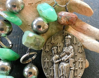 French St Anne of Auray Religious Assemblage Necklace