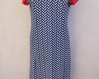1970s Chevron Vneck Dress, Navy Blue Striped Dress with Red Trim, Long Blue Dress, Blue Midi Dress, Striped Shift Dress