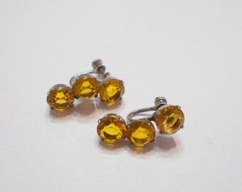 Vintage Sterling Silver Screwback Earrings (3942) Citrine Crystals
