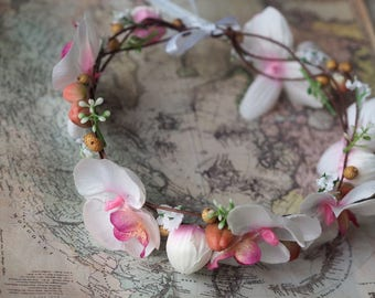 Bridal Floral Headband, Wedding Hair Halo, Orchid Hair Accessory, Bridal Flower Hair Garland, Orchid Flower Crown