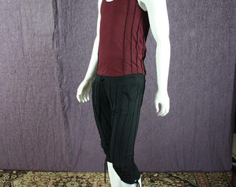 NEW!!!  Mens Drop Crotch Pants in Black Organic Cotton Soy Fabric with Adjustable Wasteband and Length