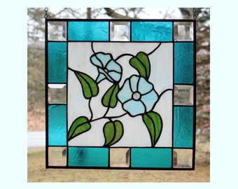 Stained Glass Morning Glory Panel, Window Decor, Aqua Blue, Glass Art