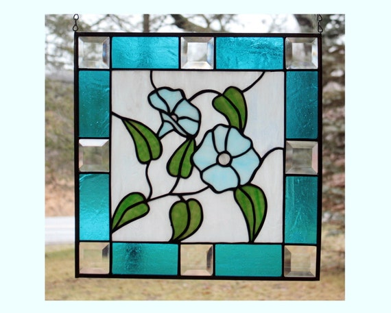 Stained Glass Morning Glory Panel