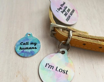 Personalised Pet Id Tags Watercolour Bauble - Pet Name Tags - Pet Collar Tags - Dog ID Tags - Cat ID Tags