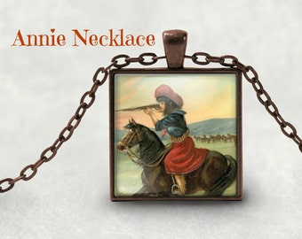 Cowgirl Necklace - Independence Day - Horse Lover Gift - Vintage Cowgirl - Gift for Cowgirl - Horse Lover Gift - Cowgirl Pendant - Spring