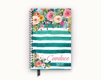 FlexGrid, Classic, or Student Academic Planner 2017 Personalized Calendar Agenda with Watercolor Floral on Teal Stripes