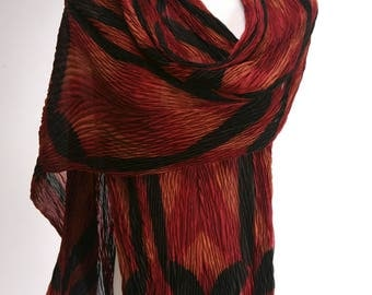 Pleated Shibori Silk Scarf Red Evening Shawl Wrap