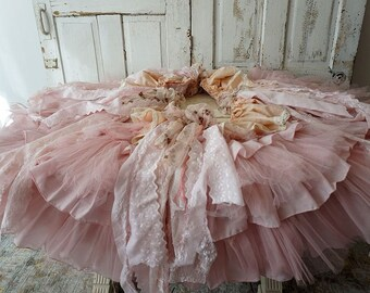 Pink Christmas tree skirt shabby cottage chic tattered antique vintage fabric w/ lace hand dyed ornate decoration decor anita spero design