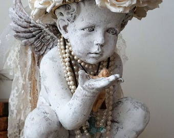 White cherub statue wearing handmade roses crown shabby cottage chic distressed angelic figure embellished home decor anita spero design