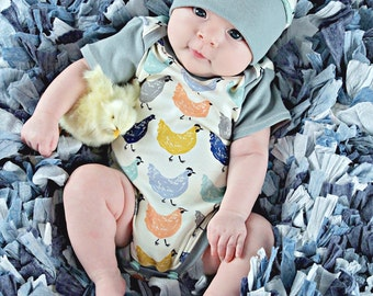organic chicken outfit, organic clothing, organic baby clothes, handmade baby, onesie, organic baby gift, organic onesie, chickens, baby set