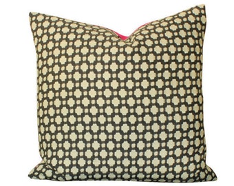 Schumacher Betwixt Pillow Cover in Charcoal Grey