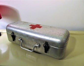 Vintage Large Hungarian Medical First Aid Aluminum Tin Box