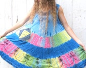 Swing Dress, Hippie Dress, Bohemian Dress, Upcycled clothing for women, Festival Dress, upcycled recycled repurposed clothes tie dye dress