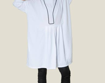 White summer dress, wide tunic, 3/4 sleeve, boat neck, short dress, minimal white dress, loose fit, pleated dress, drop shoulder dress