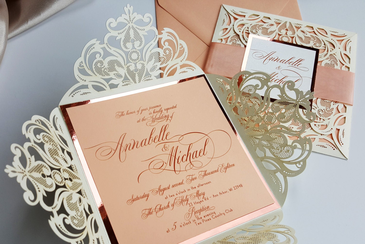 One Page Wedding Invitations: Peach Laser Cut Wedding Invitations Customized With Ribbon And