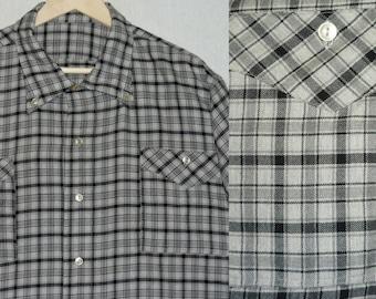 1960s Shirt / XXXL / 3XL / 3X / Flannel / Wool / Grid / Plaid / Rockabilly / Work Shirt / Hunting / Vintage 1960s Mens Clothing / 60s Shirt