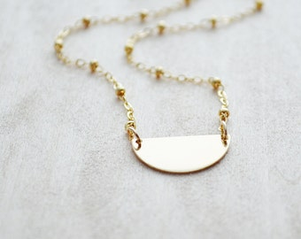 Gold Half Moon Necklace - Dainty Layering Jewelry -  Gold Moon Phases Necklace - Moon Shadow - Satellite Chain Necklace - Celestial Jewelry