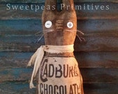 Extreme Primitive Vintage Early Style Spring Easter Rabbit Doll Reproduction Cadbury Chocolate Label ~ Sweetpeas Primitives~