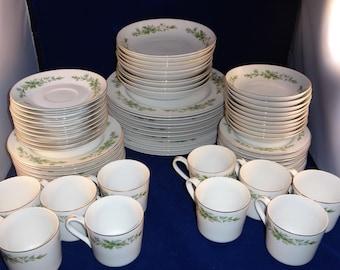Blue Flower Dish Set, Service for 10, Creative Manor Blue Flower Dish Set, Garlands of Glory