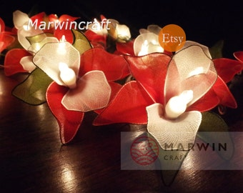 Battery or Plug 20 Red Orchid Flower Fairy String Lights Floral Party Patio Wedding Garland Gift Home Living Bedroom Holiday Decor 3.5m