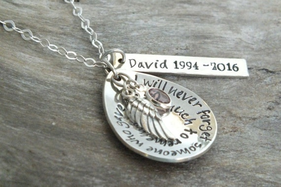 Personalized Sterling Silver Wing Necklace, Memorial Jewelry, Remembrance Jewelry, Birthstone Angel Wing Necklace, Initial Name Sympathy