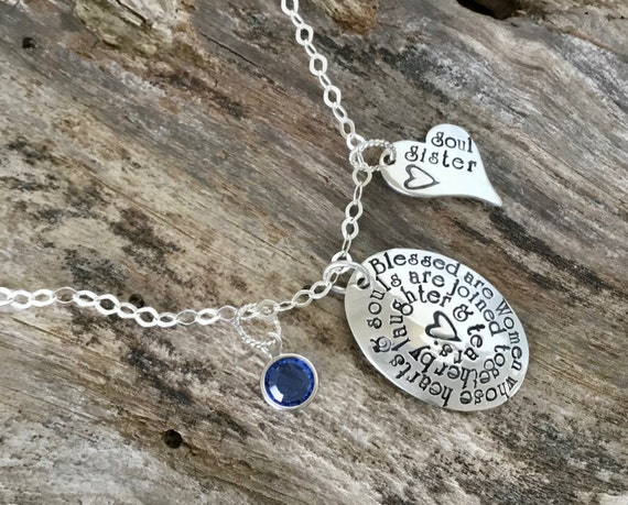 Soul Sisters Friend Hand stamped Necklace Sterling Silver Personalized Friendship Soul Sister Jewelry