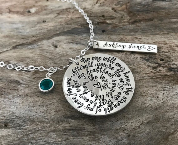 Mother Necklace/ Mommy Necklace/ Mother Jewelry/ Mother Gift/Sterling Silver Necklace with Name/Strength of My Love/Birthstone Name Necklace