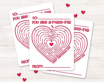 Printable Valentine Card, Kids Valentine Card, Valentine Maze, DIY Valentine Card Instant Download, Printable Valentine Card, Valentines Day