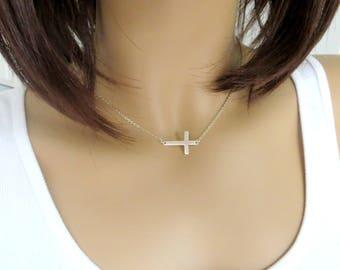 SALE:  Sterling Silver Sideways Cross Necklace. Pendant  Necklace. .925 Silver.