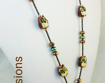 Beaded Lanyard ID Holder Badge Earthtone Owls Gift -Nurse Teacher student- Artisan Made Quality Craftsmanship